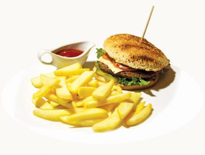 Beef hamburger with fries